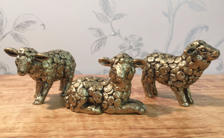 Rustic Gold  Small Sheep Decorative Ornaments ~ Set of 3